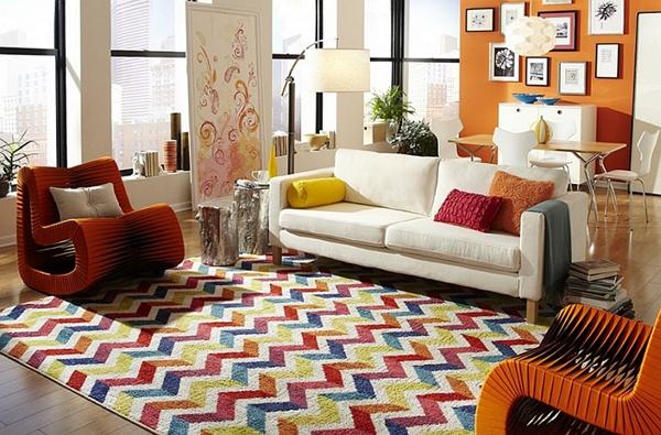 15款客厅地板装修案例 花纹地毯突显华丽细节