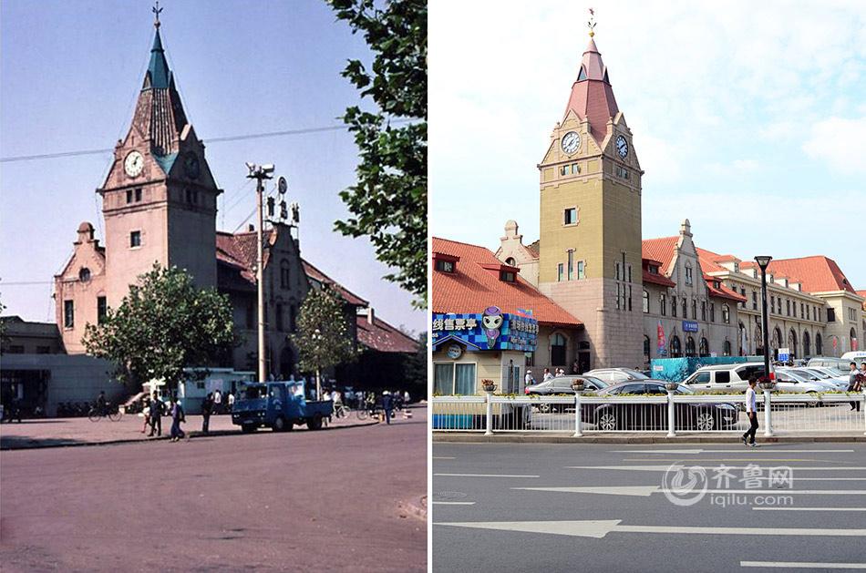 左图:这是1983年的青岛火车站,这座始建于1899年的百年老站具有德国文艺复兴建筑风格。(图片来自网络)右图:2014年的青岛火车站已经经过了多次修缮,1988年青岛市政府开始对火车站进行改建,先后修建了新的候车楼、地下通道,并改造了火车站广场。(齐鲁网记者 孙志文 摄)
