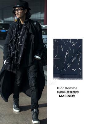 陈坤 in Dior Homme纯棉和真丝围巾