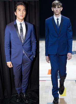 宋承宪 in Dior Homme 2015春夏系列蓝色西服套装