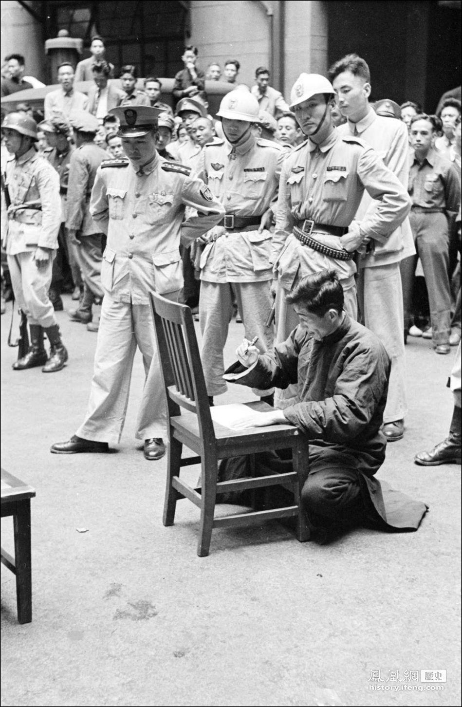 哈里森 上海/民国三十八年(1949年)5月11日,上海。死刑犯人在临刑前签字...