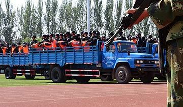 新疆对55名暴徒宣判现场