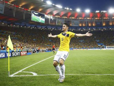罗德里格斯中路抢点推射 哥伦比亚2-0淘汰乌拉圭