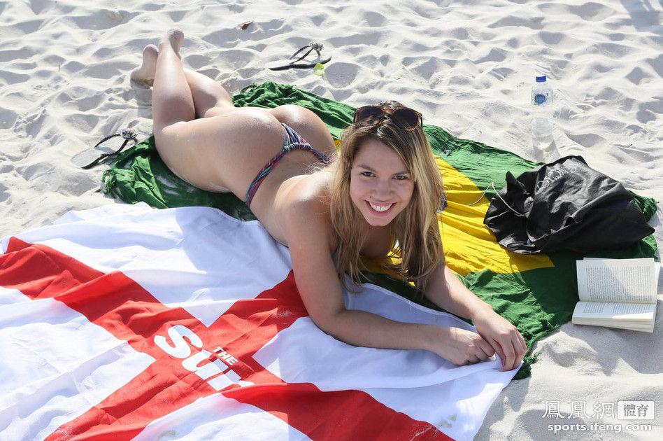 火辣女郎支持英格兰 沙滩比基尼秀翘臀 体育频
