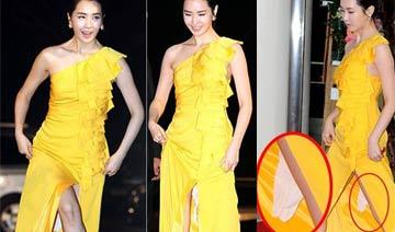 韩女星红毯尴尬瞬间:李多海胯下现卫生纸