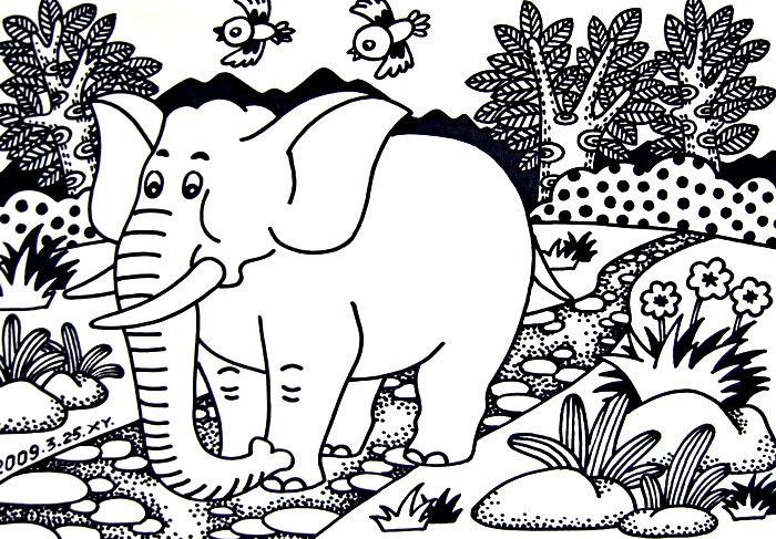 创意手绘线描画大象