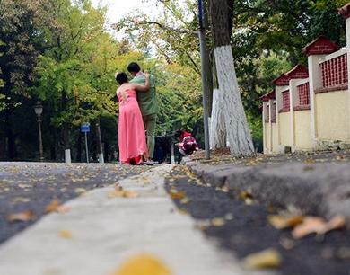 青青岛八大关雨后秋意浓 吸引新人扎堆拍婚纱照