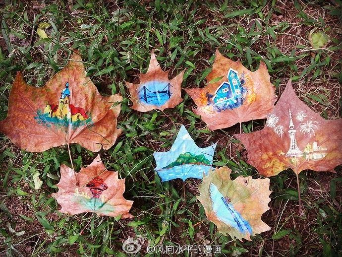 丙烯颜料 落叶 小学老师另类创意展现最美青岛