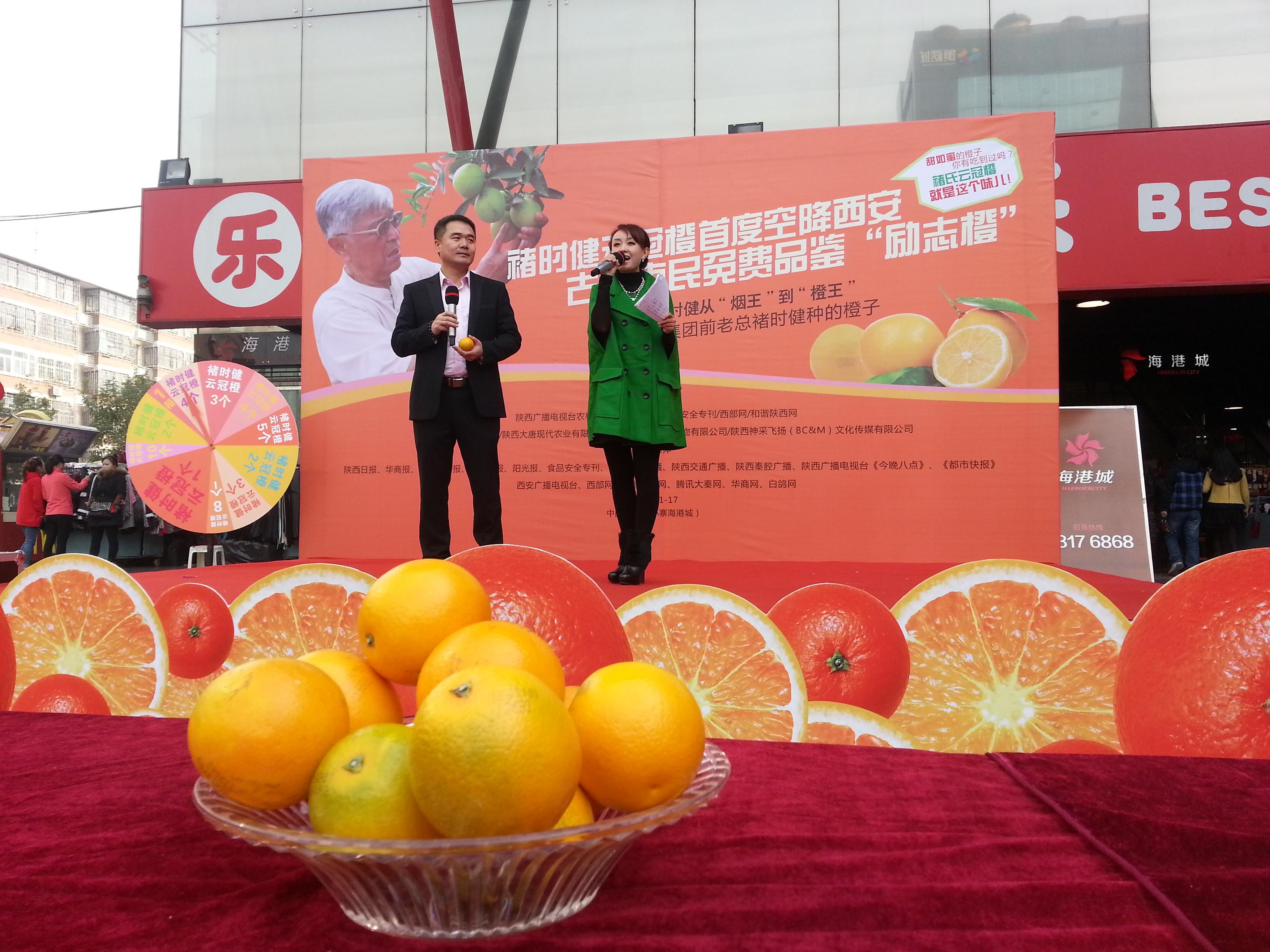 褚时健/禇橙首度来陕西安市民免费品尝云冠橙