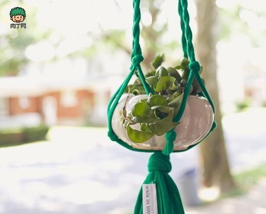 手工制作diy环保布条盆栽托
