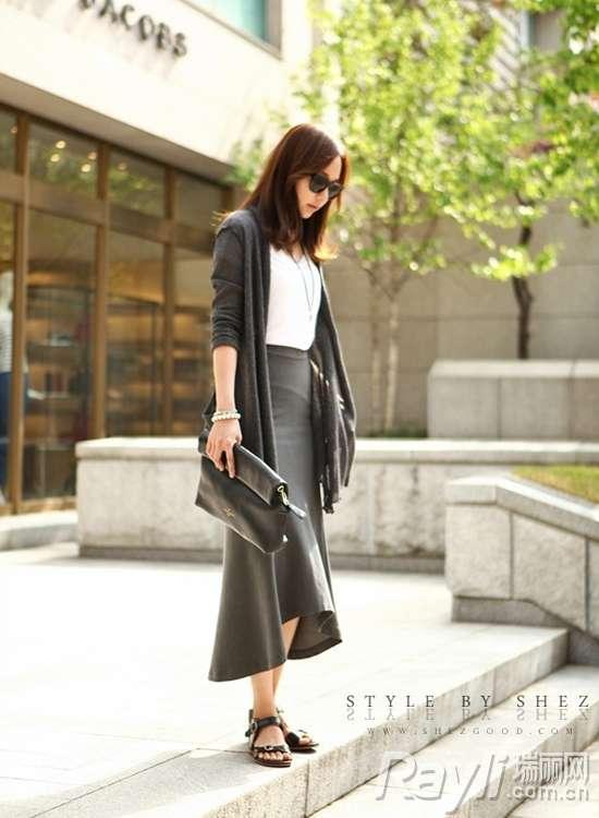 时尚短外套搭配长裙