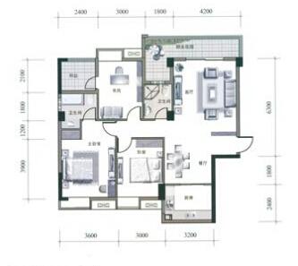 三居室装修平面图高清图片