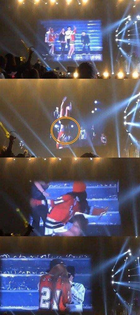 2NE1朴春舞台表演翻身不小心露内衣(图)