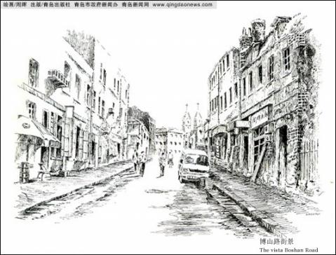 任锡海用摄影记录青岛,周辉就是用钢笔画记录青岛,并配以简短的说明