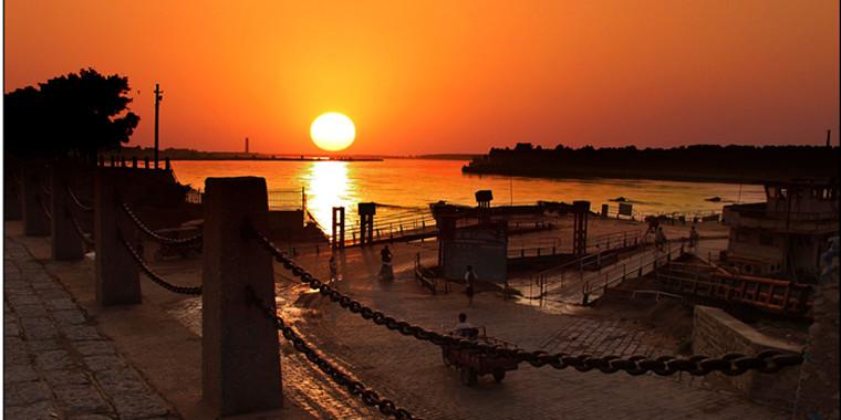 日落泺口渡口 黄河古渡