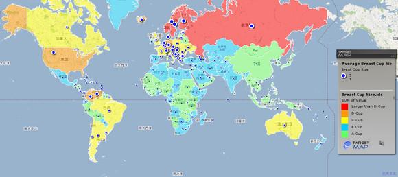 谷歌发布全球女性胸部大小排名 中国平均A杯