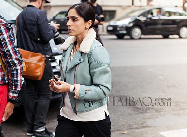 寒冷冬日也要帅气有型 欧美街拍之型人演绎夹克穿搭图片