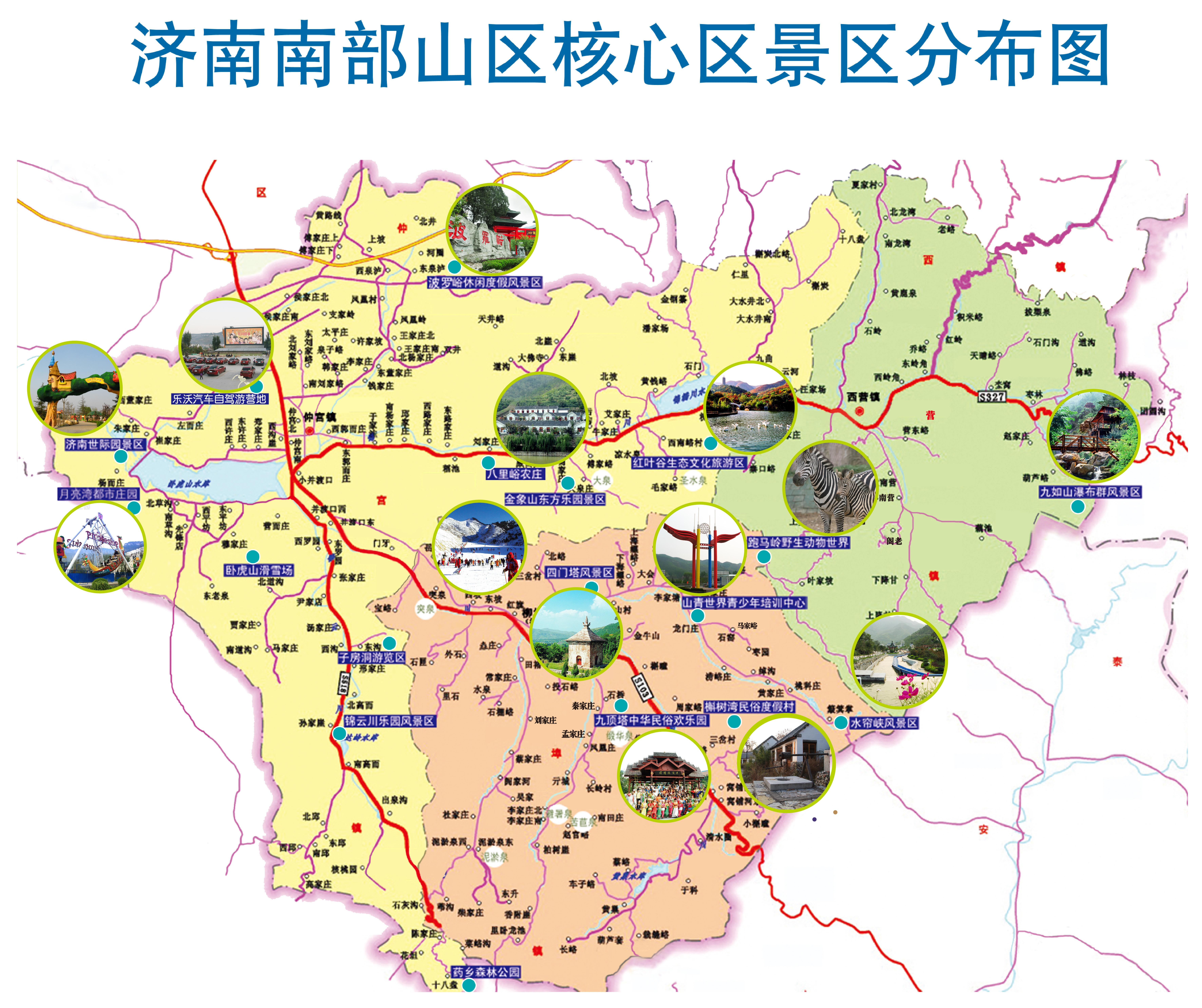济南手绘 景点地图