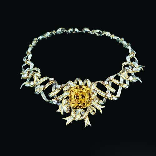 ribbon rosette铂金和18k黄金镶tiffany diamond蒂芙尼黄钻缎带项链图片