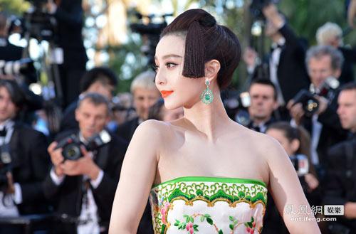 范冰冰发型似艺伎 戛纳红毯被错认日本人