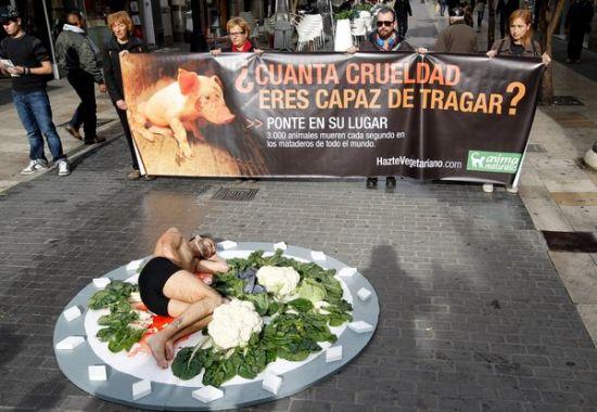 """巴塞罗那街头""""裸体午餐""""抗议食肉行为! - yfdgad - yfdgad的博客"""