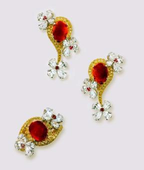 缅甸天然蛋面红宝石戒指及耳环套装