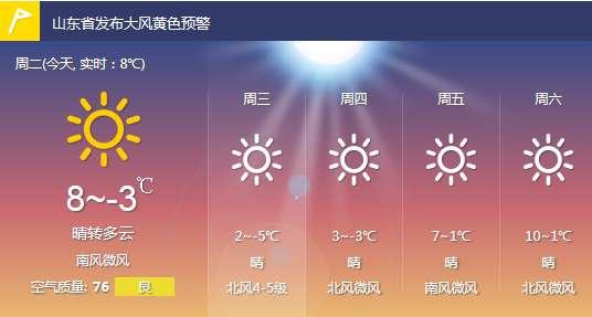 山东省天气预报-山东发布大风黄色预警 明日半岛地区局部大雪