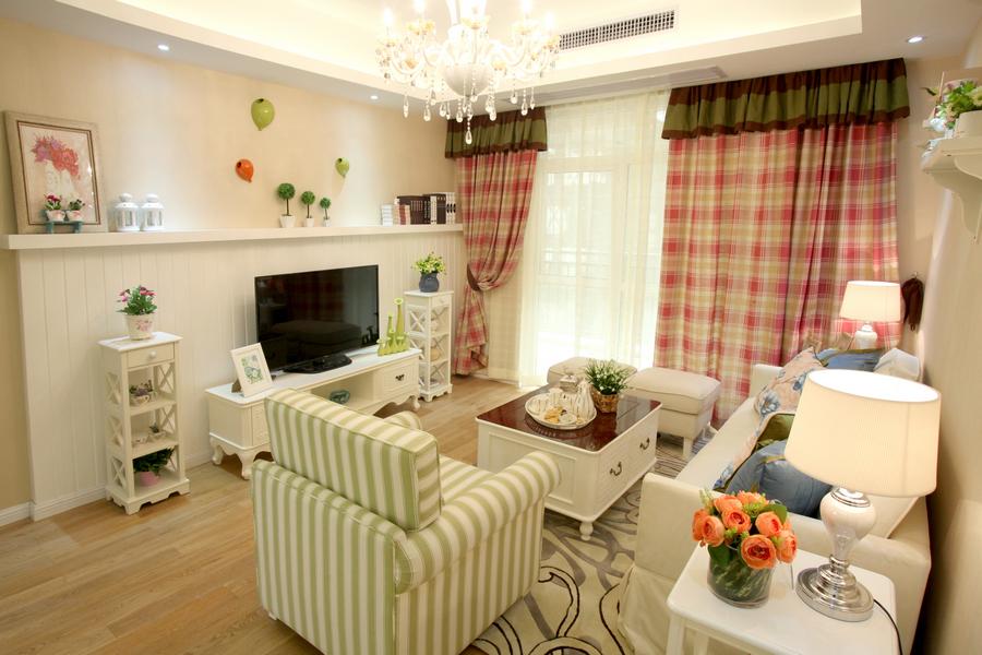 武汉万基国际a2户型韩式田园风格样板房设计