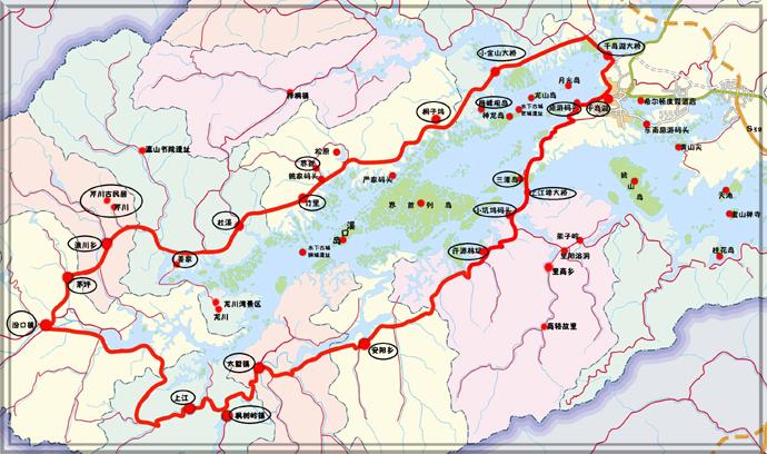 千岛湖骑行线路图