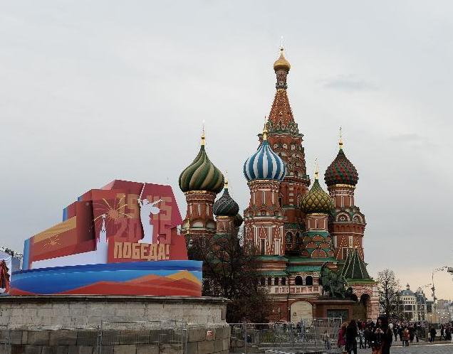 胜利日前夕的俄罗斯莫斯科红场(图)