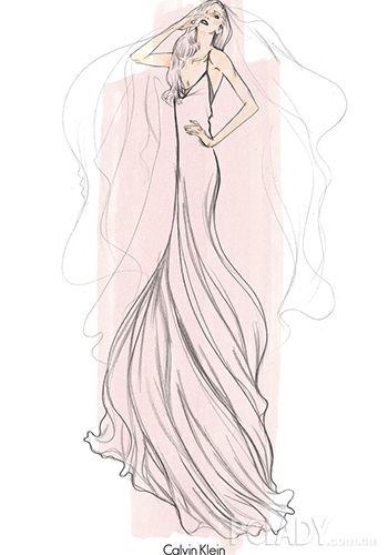 婚纱简笔画图片大全-全球最逼格婚纱草图 新娘原来是Lady GaGa