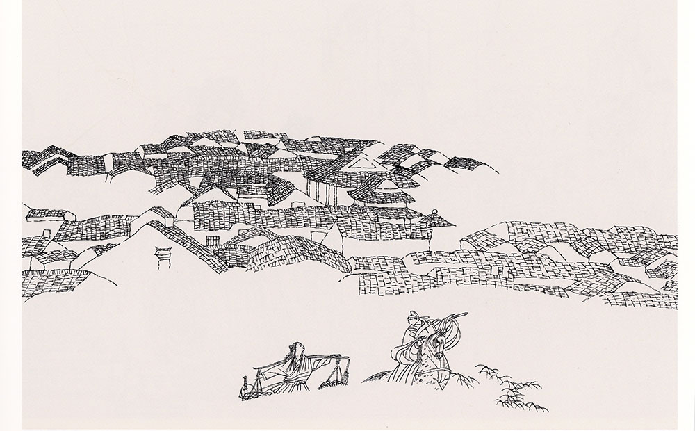 高云1984年(28岁)连环画作品《罗伦赶考》获第六届全国美术作品展览金奖。图为罗伦赶考之四。