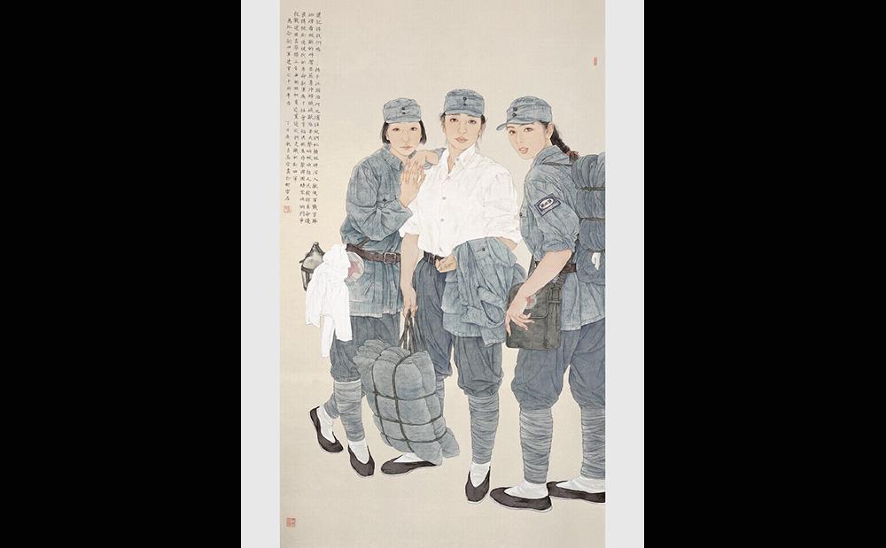 还记得我们吗——纪念新四军建军七十周年·195cmx115cm(获全国美展提名奖,被中国美术馆收藏。)