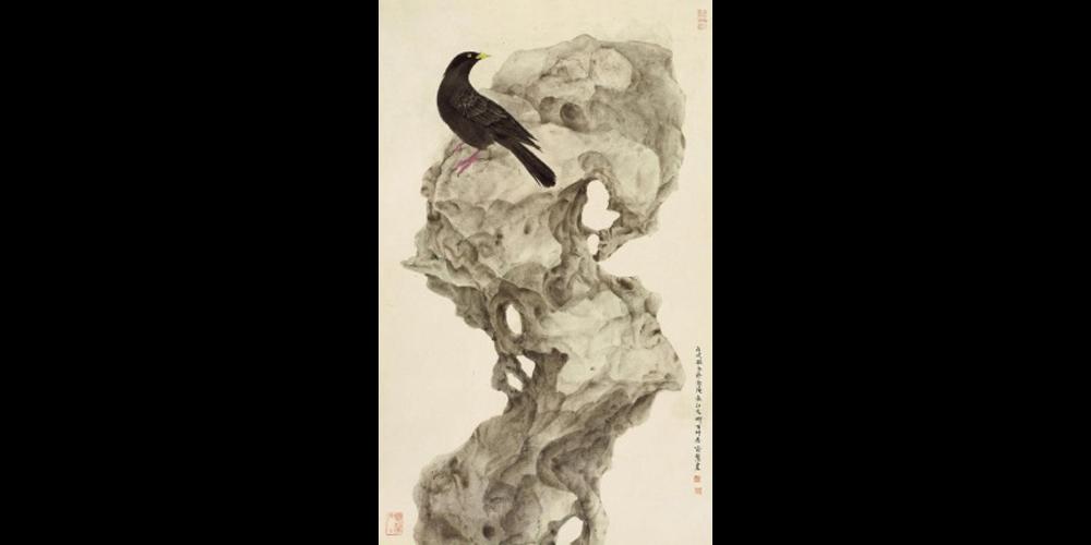 太湖石与鸟