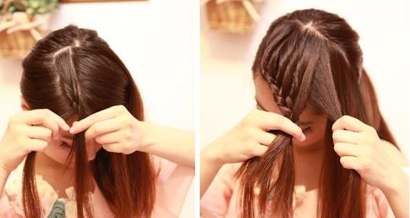 资料图 Step5:现在开始编发,从右边取一小束头发出来,从尾端开始编三股辫。 Step6:然后往右边编,每编一层就叠加一束头发进来,把剩下的头发一点点的叠加进三股辫里面,一直往下编。