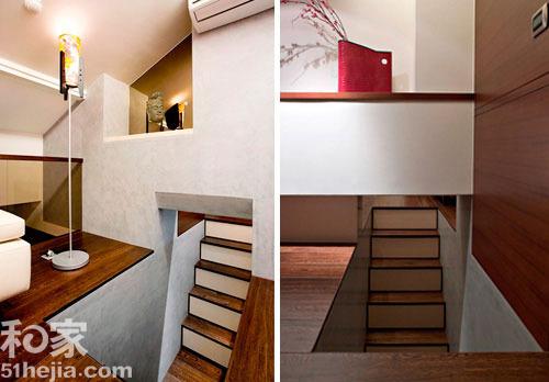 以半层转折的设计方式安排,经过位于一楼柜体后方的隐密性楼梯所形成