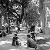 沙面街上休憩的市民