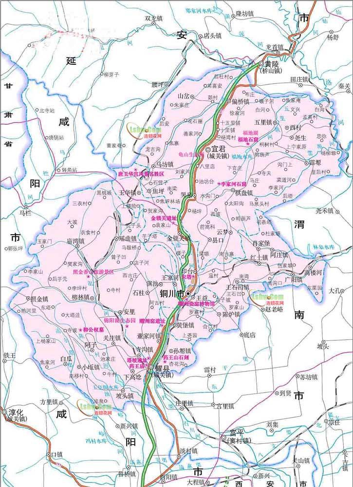 铜川市旅游地图