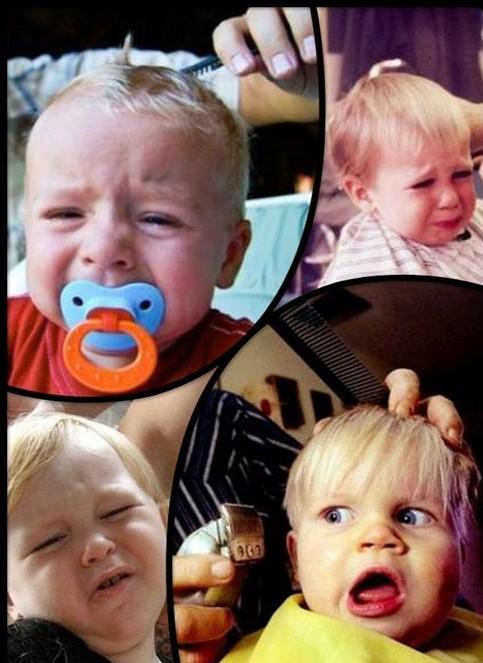 宝宝理发时的悲催表情