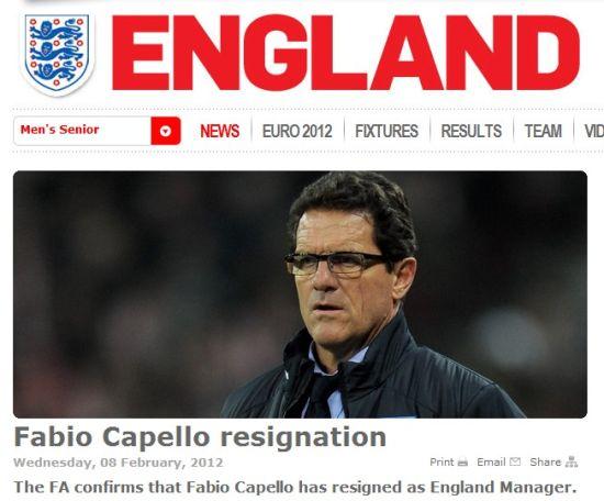 英足总官方确认:英格兰国家队主帅卡佩罗辞职