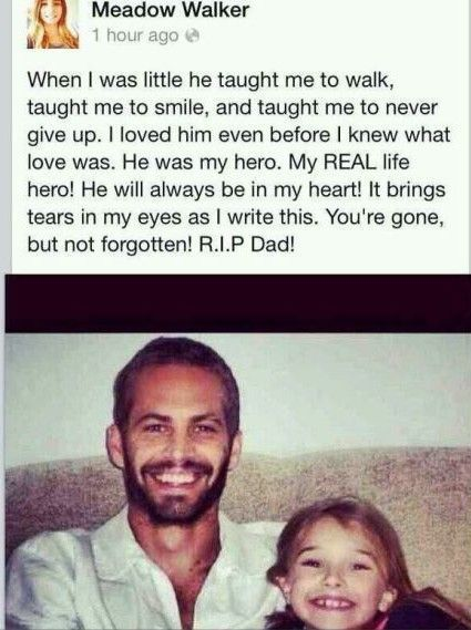 保罗-沃克女儿悼念父亲:他是我的英雄(图)