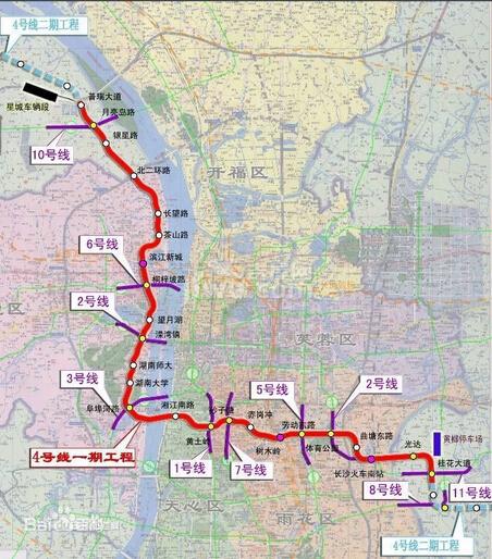 长沙地铁四号线线路图-长沙地铁4号线2019年底投入运营图片