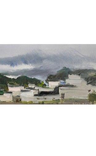 油画:《十里烟村》