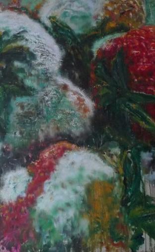 油画:《溃烂之山水-雾》