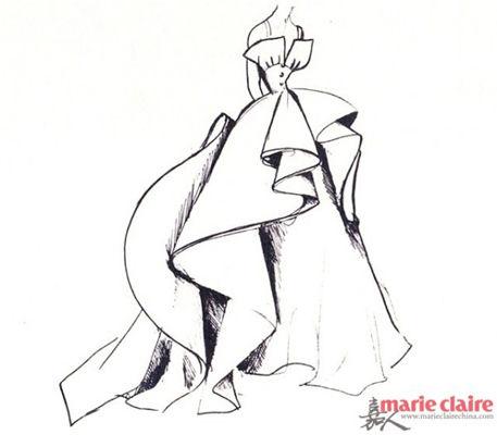 灵感来源:迪奥 dior复古时装设计手稿.