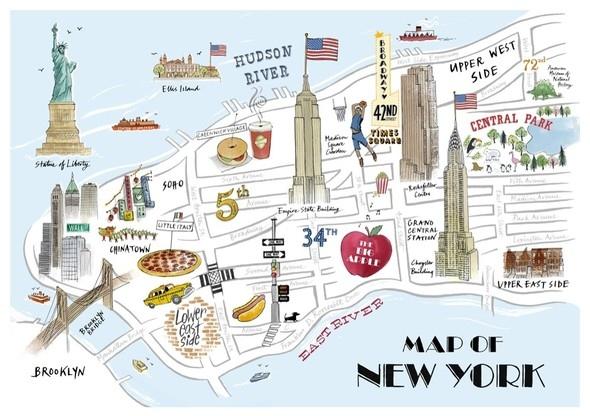 纽约简易地图 一张图看懂曼哈顿!