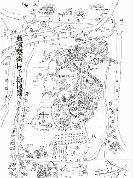 (图注1:蓝顶艺术区手绘地图) 事实上,国内最早的loft工厂式的艺术区