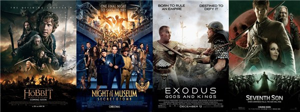 《霍比特人3》,《博物馆奇妙夜3》,《法老与众神》及《第七子》海报