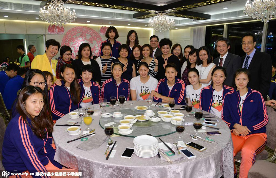 2015世界女排大奖赛欢迎晚宴举行 新老女排聚