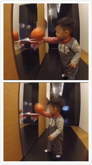 [明星爆料]陈建州1岁儿子学灌篮 翔翔单手抓球呆萌